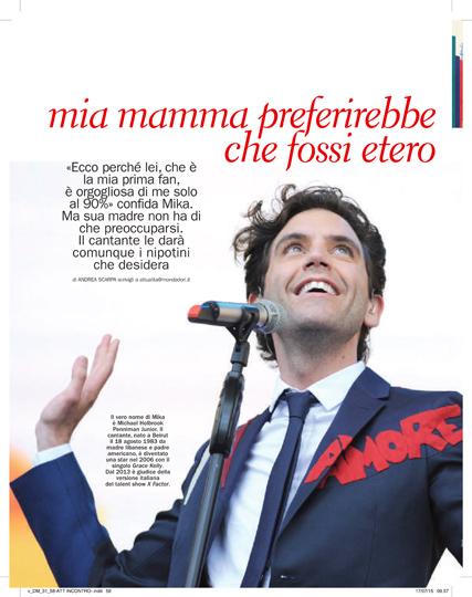 L'intervista di Mika a Donna Moderna.